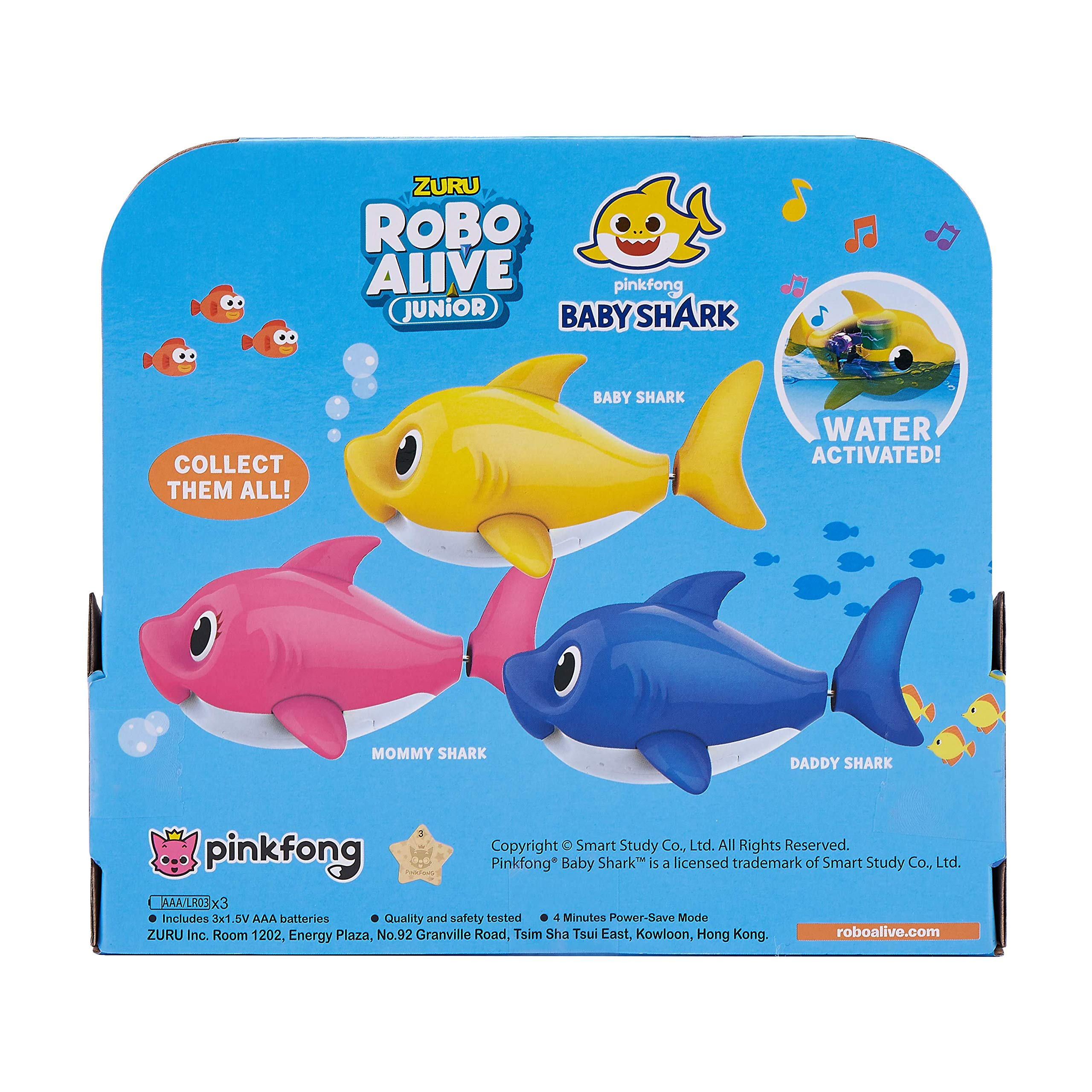 Robo Alive Junior Baby Shark Battery-Powered Sing and Swim Bath Toy by ZURU - Daddy Shark (Blue) by Robo Alive Junior (Image #5)