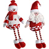 WeRChristmas Sitting Santa and Snowman Christmas Decoration, 32 cm - Red/White, Set of 2