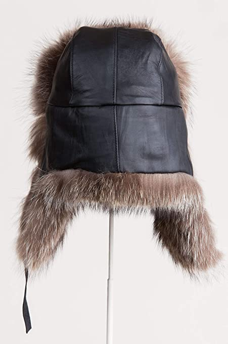 Overland Sheepskin Co Canadian Lambskin Leather Trapper Hat with Raccoon Fur  Trim at Amazon Men s Clothing store  83ce0f66676c
