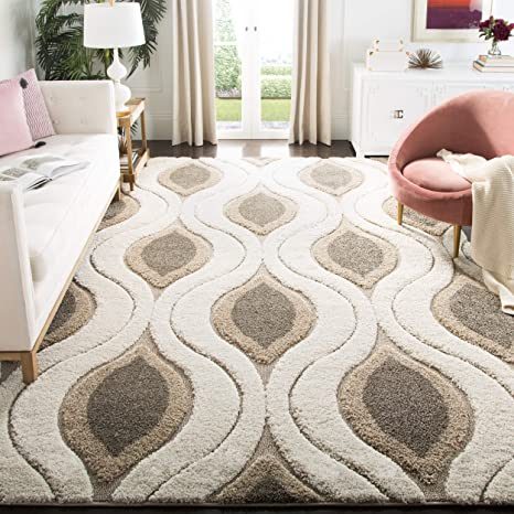 Amazon Com Safavieh Florida Shag Collection Sg461 Modern Ogee Non Shedding Living Room Bedroom Dining Room Entryway Plush 1 2 Inch Thick Area Rug 8 X 10 Cream Smoke Furniture Decor