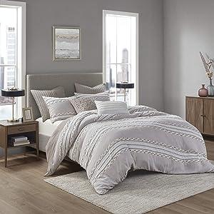 INK+IVY 100% Organic Cotton Comforter Set Trendy Stripe Jacquard Design, All Season Cozy Bedding with Matching Shams, Full/Queen(88