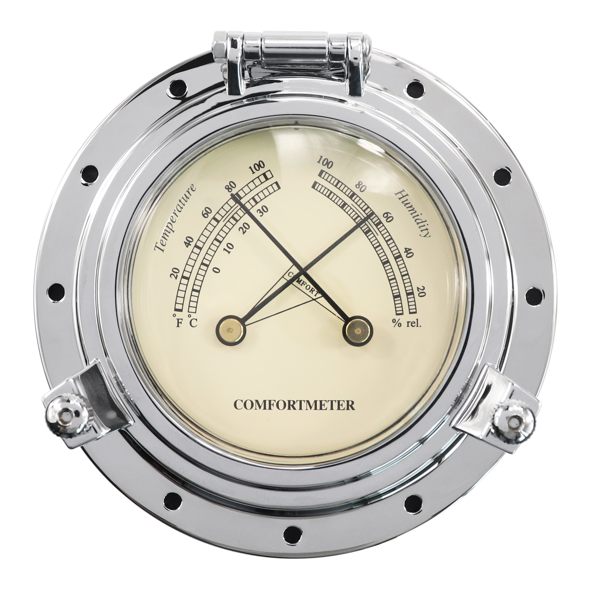 IZTOSS Highly polished brass Traditional Temperature and Humidity Comfortmeter-Chrome