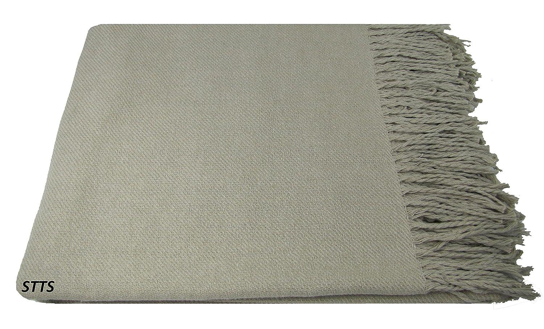 100/% Coton// Rio-B Beige Plaid Coton// Couverture en Coton// Couvre-Lit// 130 cm x 170 cm