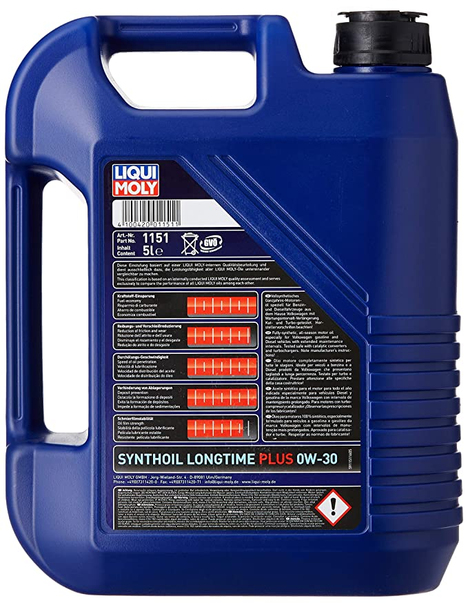 Amazon.com: Liqui Moly (1151) 0W-30 Longtime Plus Synthetic Engine Oil - 5 Liter Jug: Automotive