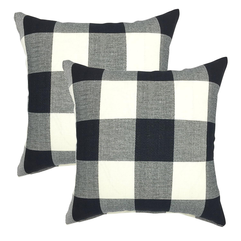 YOUR SMILE Retro Farmhouse Buffalo Tartan Checkers Plaid Cotton Linen Decorative Throw Pillow Case Cushion Cover Pillowcase for Sofa 18 x 18 Inch, Set of 2, Black/White