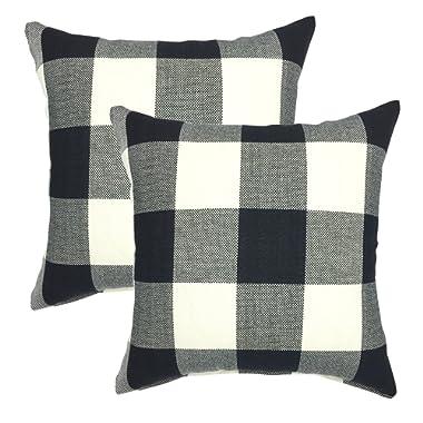 YOUR SMILE Retro Farmhouse Tartan Checkers Plaid Cotton Linen Decorative Throw Pillow Case Cushion Cover Pillowcase Sofa 18 x 18 Inch, Set of 2, Black/White