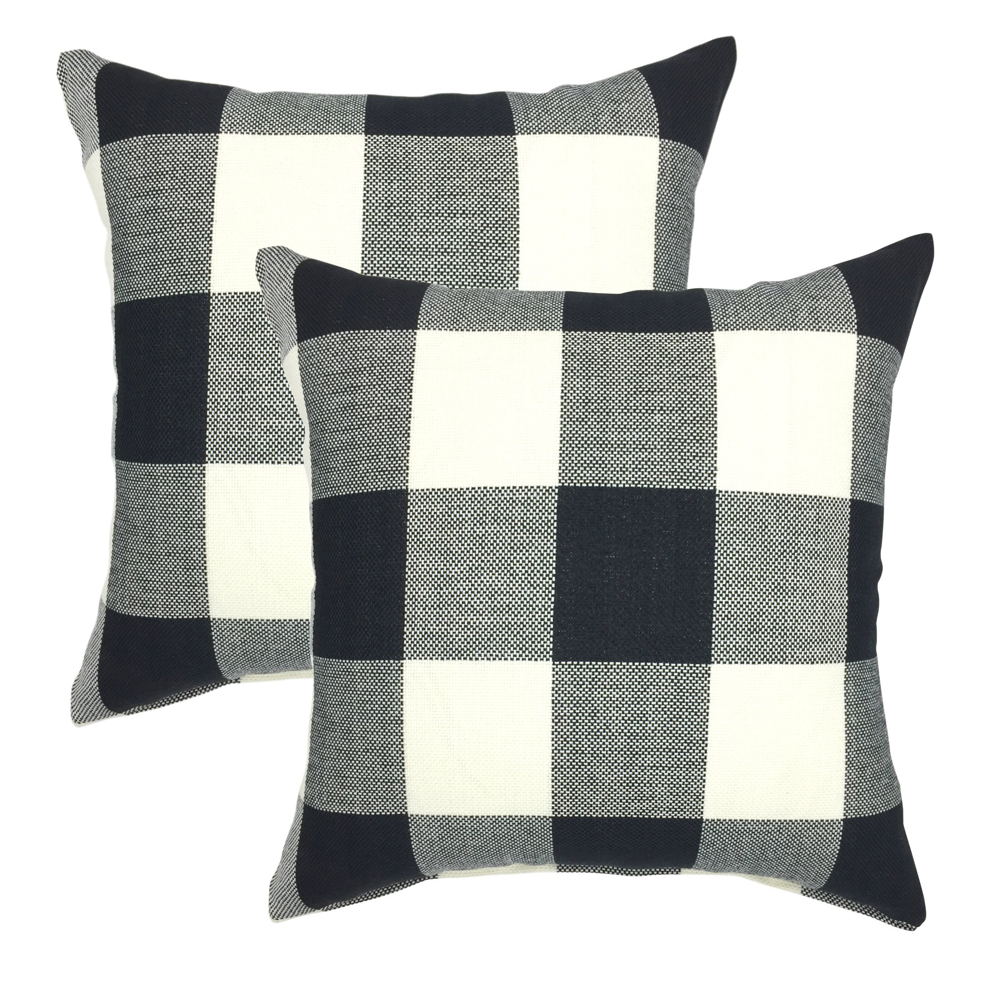 YOUR SMILE Retro Farmhouse Tartan Checkers Plaid Cotton Linen Decorative Throw Pillow Case Cushion Cover Pillowcase for Sofa 18 x 18 Inch, Set of 2, Black/White