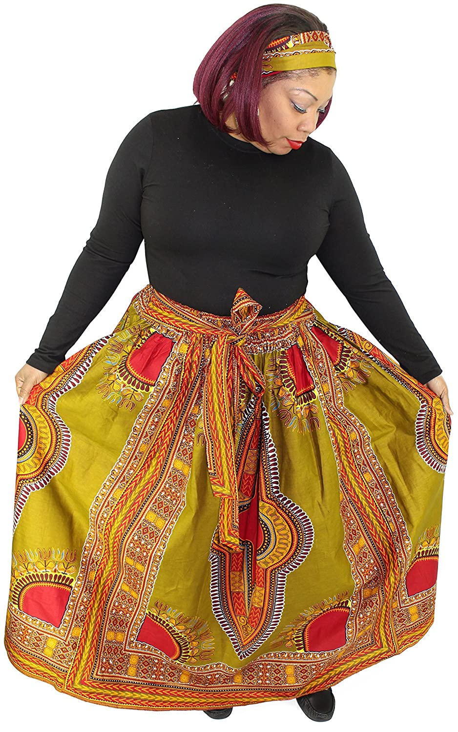 African Planet Women's Wax Dashiki Skirt Bow Tie Elastic Waist Ankara Maxi
