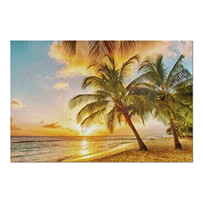 Tropical Beach with Palm Trees at Sunset 9024457 (Premium 1000 Piece Jigsaw Puzzle for Adults, 20x30, Made in USA!): Toys & Games