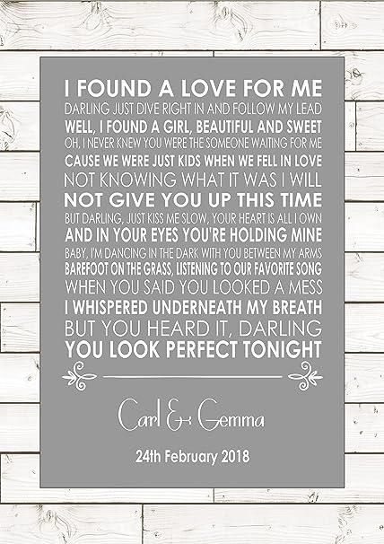 PERFECT – ED SHEERAN - Wedding Anniversary Engagement Song Personalised  First Dance Lyric Lyrics A4 (21cm x 29 7cm) Unframed Print