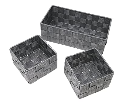 Storage Baskets 3 Pack Grey Small And Medium Storage Baskets Household And Bathroom Storage