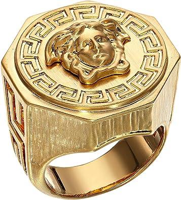 18390a5e1fa2 Versace Unisex Greca Medusa Ring Gold 13 (US 5)