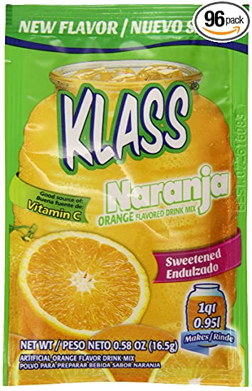Klass Sweetened Drink Mix, Orange, 0.58 Ounce (Pack of 96)