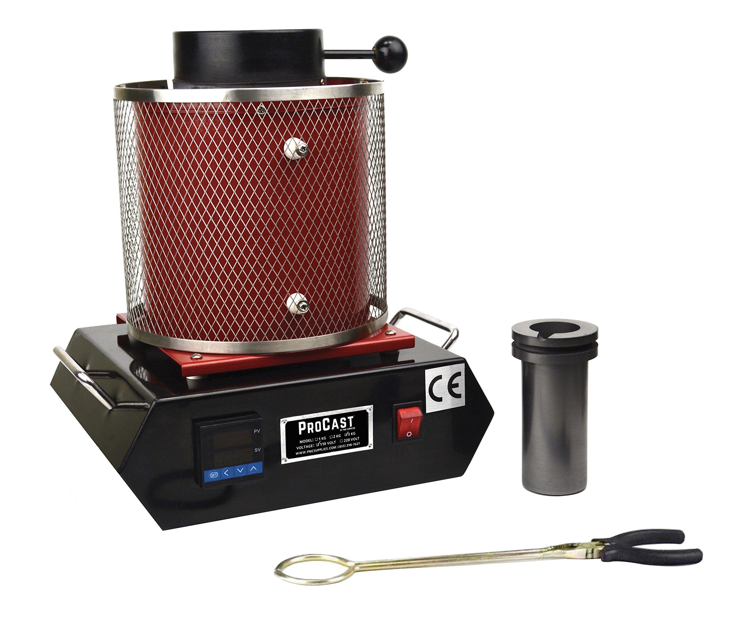ProCast 3 KG Gold Melting Furnace Machine U.S. 110V Kiln Casting Refining Precious Metals Melts Gold Silver Tin Aluminum 2102°F by PMC Supplies LLC