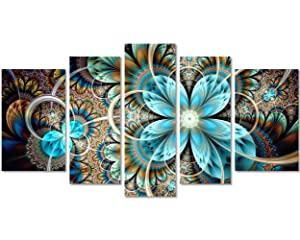 QICAI 5 Panel Blue Flower Canvas Wall Art Abstract Dark Yellow and Blue Fractal Flower Wall Decor Flower Painting on Canvas Wall Art for Bedroom Home Wall Decoration Stretched and Framed Ready to Hang