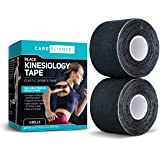 Care Science Waterproof Kinesiology Tape, 40 ct, Precut Strips (2 Rolls), Black | Elastic Sports & Weightlifting Tape Supports Muscles & Joints. Water Resistant