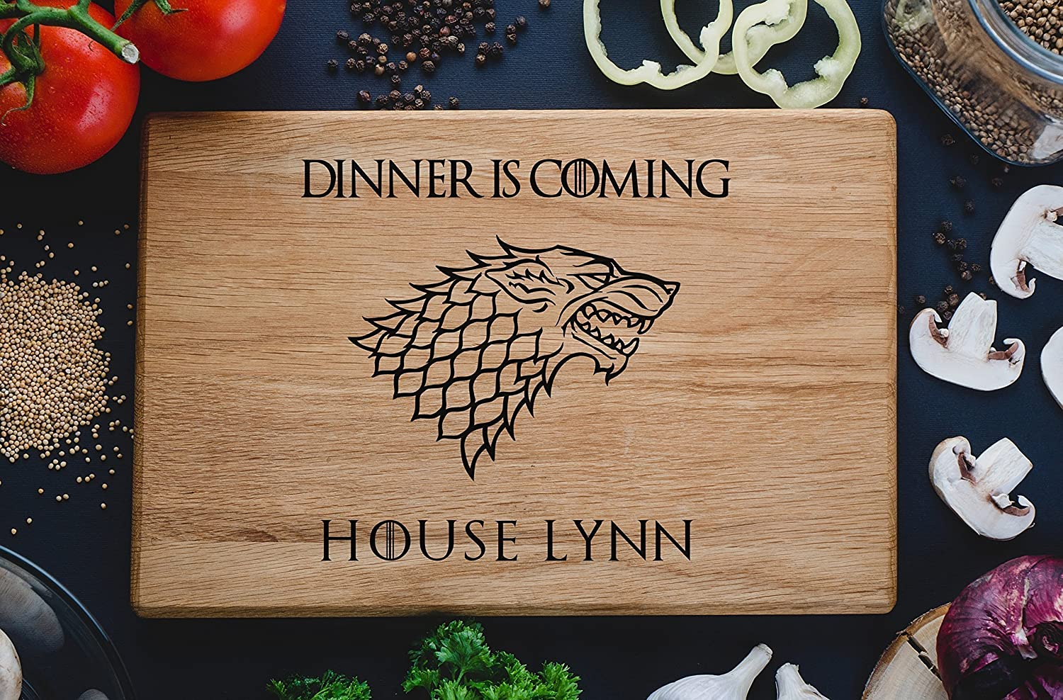Dinner is coming Games of thrones House Stark Personalized Engraved Cutting Board Custom Family chopping Wedding Gift Anniversary Housewarming Birthday game03