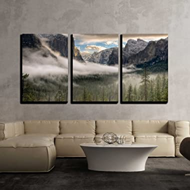 wall26 - 3 Piece Canvas Wall Art - The sun peaks over the Sierras for its first glimpse of the Yosemite Valley. - Modern Home Decor Stretched and Framed Ready to Hang - 24 x36 x3 Panels