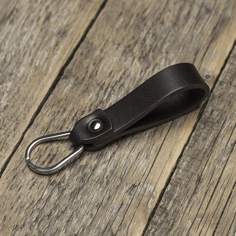 Nero portachiavi di pelle con anello a forma di goccia