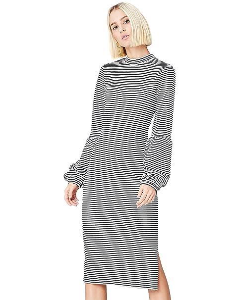 e923238b3ce3 FIND Vestito Midi con Manica a Palloncino Donna  Amazon.it  Abbigliamento