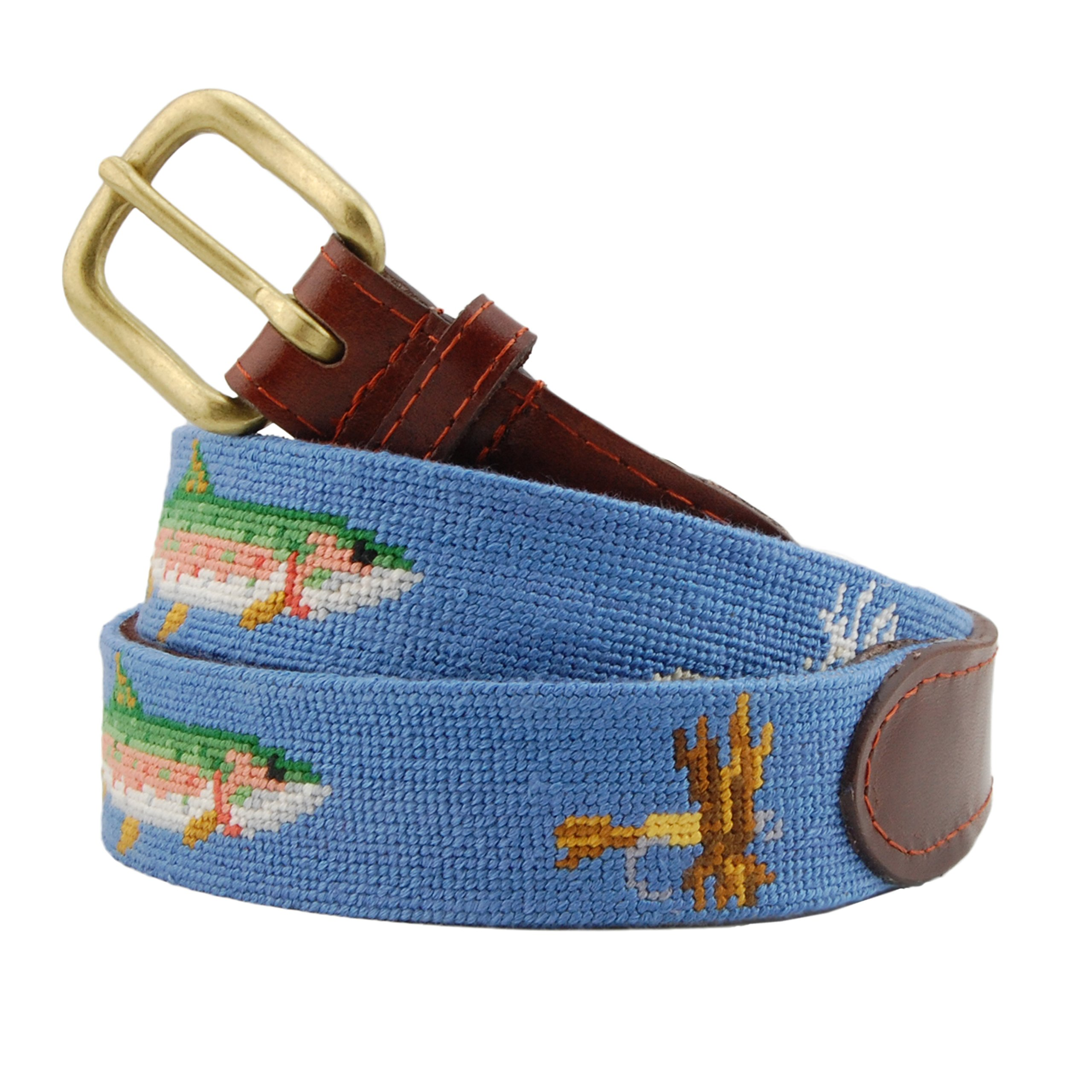 Smathers & Branson Men's Trout and Fly Needlepoint Belt 42 Stream Blue by Smathers & Branson