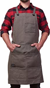 Hudson Durable Goods - Heavy Duty Waxed Canvas Work Apron with Tool Pockets (Grey), Cross-Back Straps & Adjustable up to XXL for Men & Women