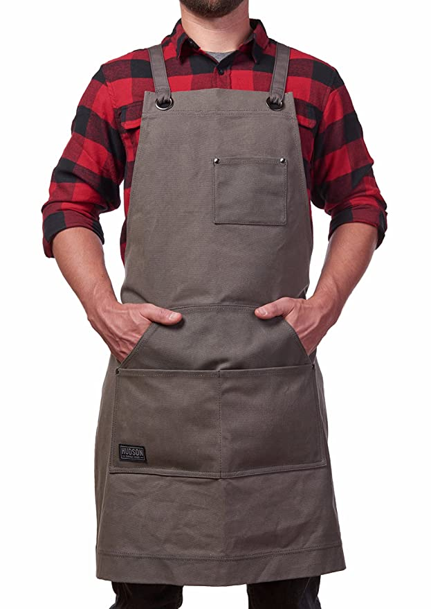 Hudson Durable Goods - Heavy Duty Waxed Canvas Work Apron with Tool Pockets (Grey), Cross-Back Straps & Adjustable M to XXL