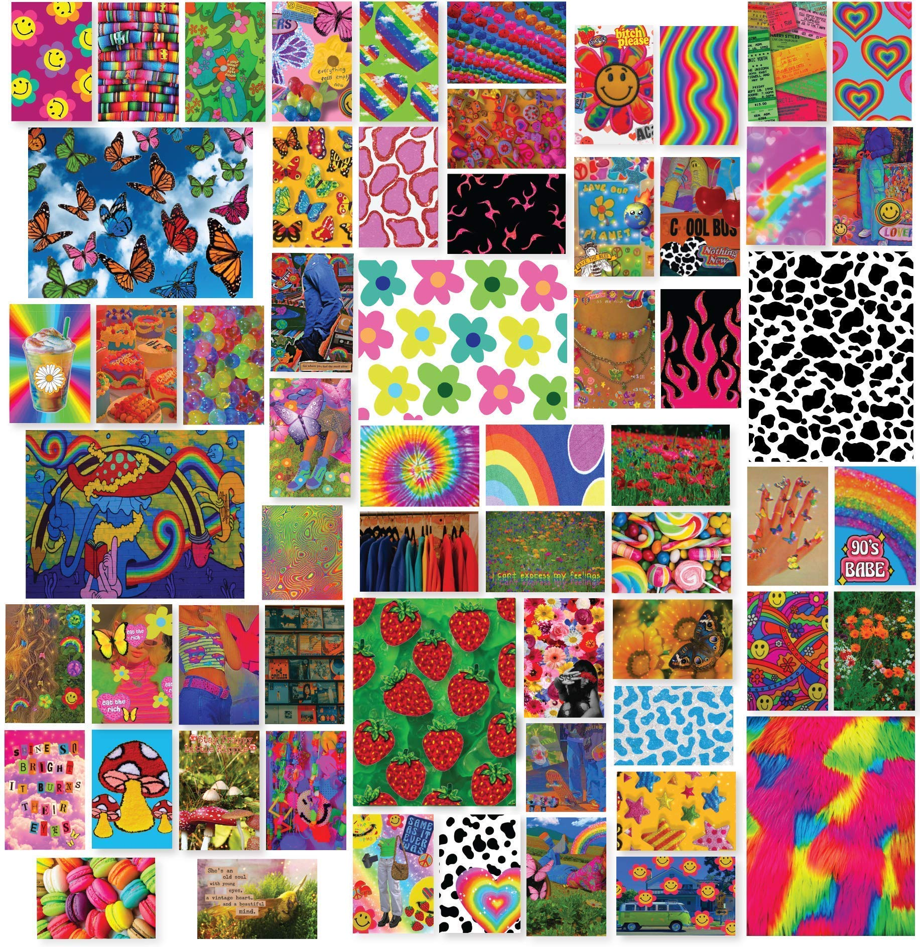 Indie Room Decor Aesthetic Collage Kit for Wall - Covers 15 Square Feet - Unique Indie Room Decor for Bedroom - Six Posters and 54 4x6 Inch Images - Indie Posters for Room Aesthetic