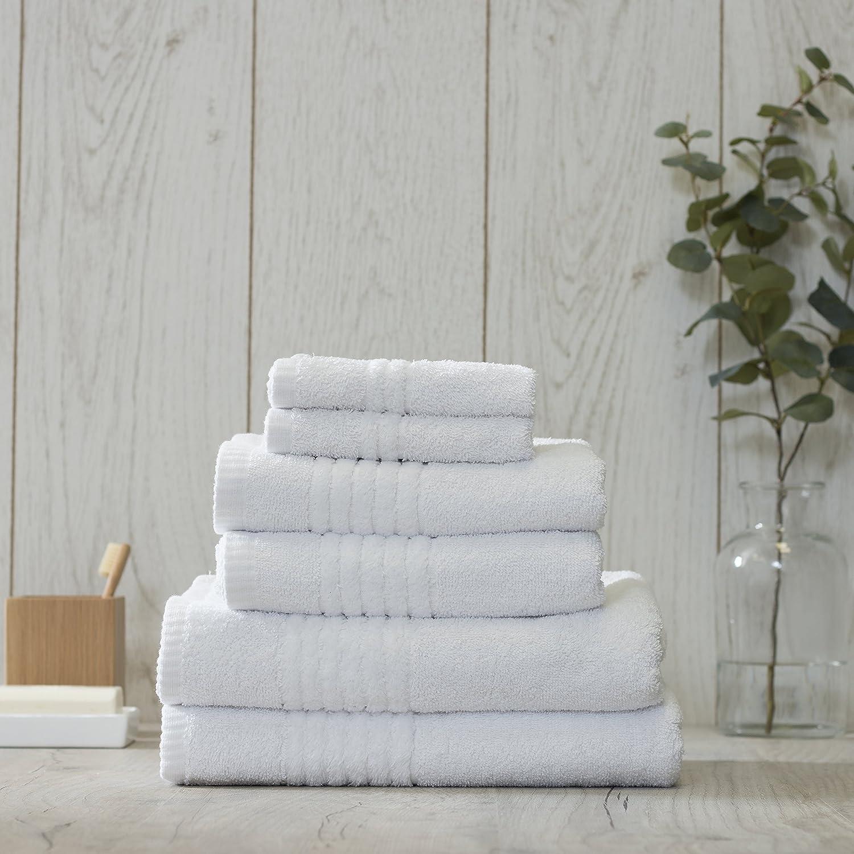 Jeff Banks Home 6 Piezas de Toallas Bale, 600 g/m², algodón, Blanco, 145 x 90 x 1 cm: Amazon.es: Hogar