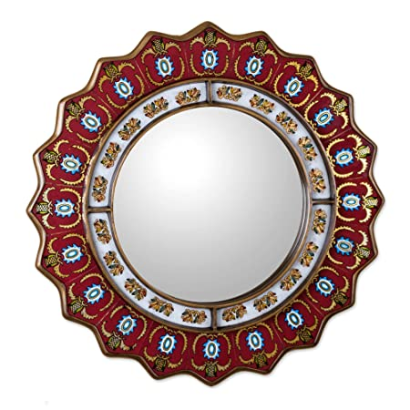 NOVICA MI0006 Red Reverse Painted Glass Wood Framed Decorative Star Wall Mirror From Peru Ruby Medallion large