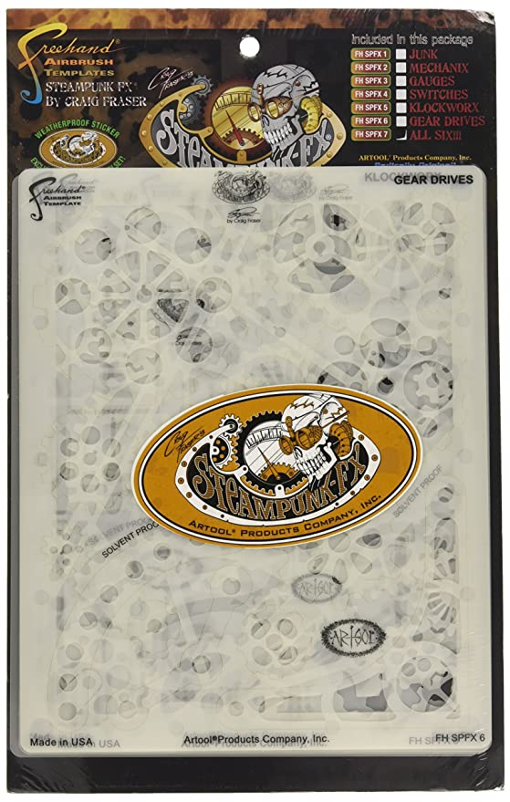 Amazon.com: Artool Freehand Airbrush Templates, Steam Punk Fx Template - Complete Set Of 6: Toys & Games