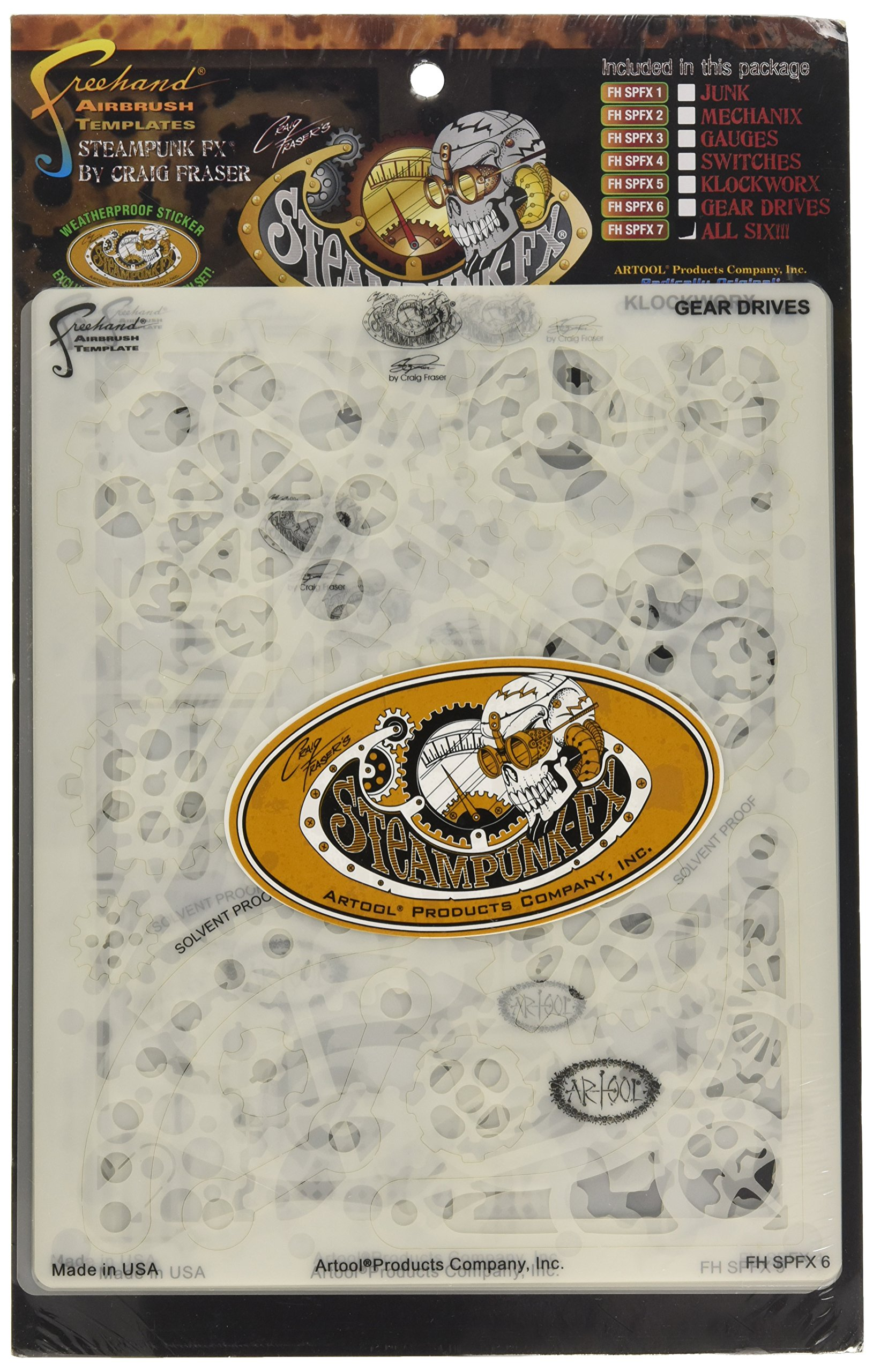 Artool Freehand Airbrush Templates, Steam Punk Fx Template - Complete Set Of 6 by Iwata-Medea