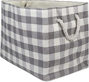 "DII Oversize Woven Paper Storage Basket or Bin, Collapsible & Convenient Home Organization Solution for Office, Bedroom, Closet, Toys, & Laundry (Medium - 15x10x12""), Gray Checkered"