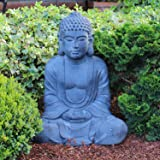Statue de Bouddha assis qui prie 50 cm de haut Statue XL Bouddha méditatif pour décoration de salon ou de jardin
