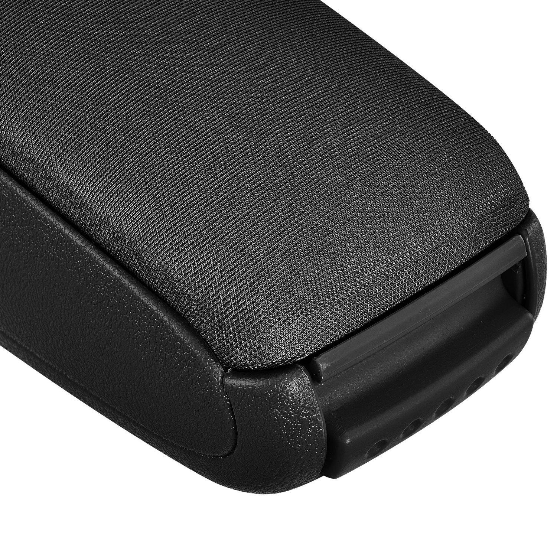 Bracciolo centrale nero in tessuto con vano portaoggetti