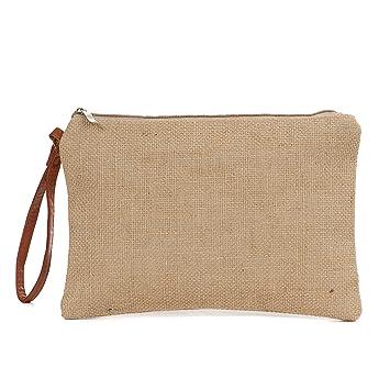 Amazon.com: Bolsa de maquillaje de lona de algodón de dos ...