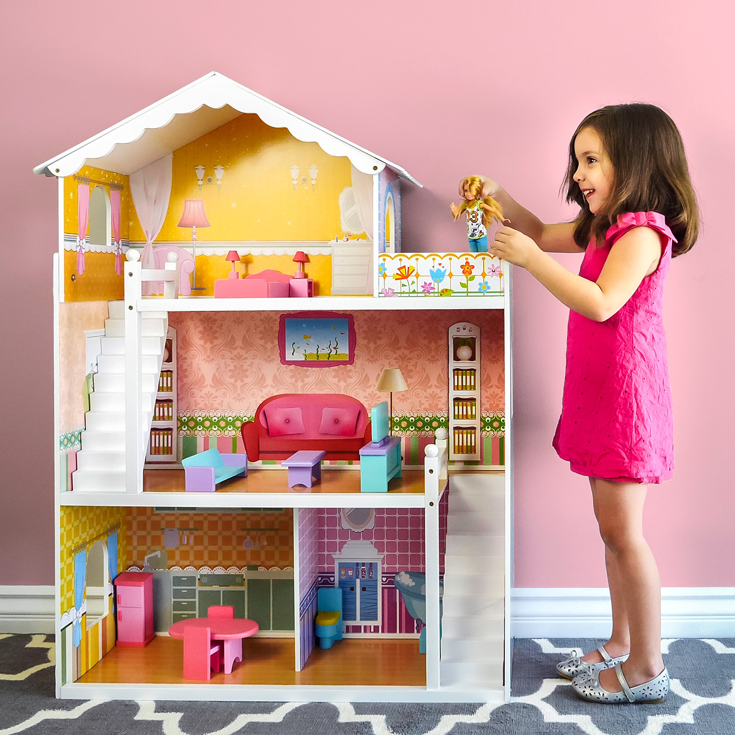Barbie Size Dollhouse W 17pcs Furniture Girls Playhouse Play Wooden