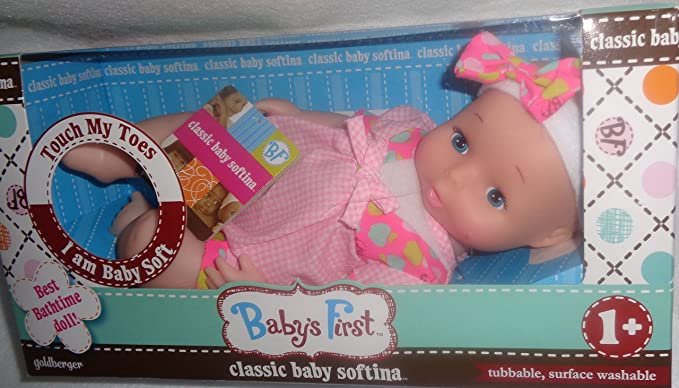 """Goldberger BABY/'S FIRST CLASSIC BABY SOFTINA 10/""""L Baby AA Doll 1 year NEW"""