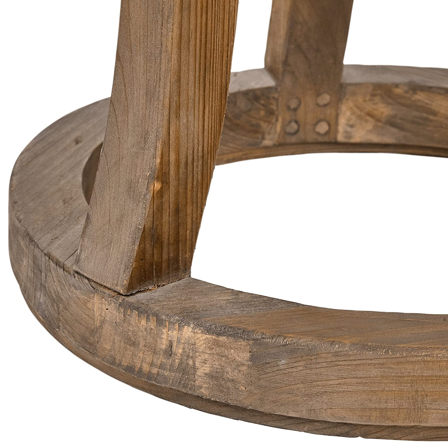 Stone Beam Modern Rustic Reclaimed Elm Round Accent Side End Table, 16.9 W, Natural