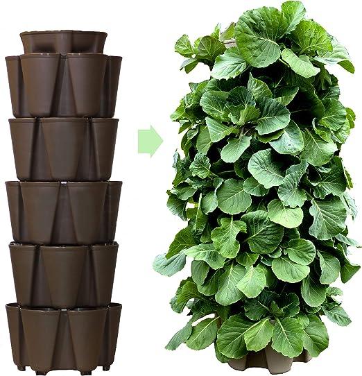 GreenStalk - Macetero grande patentado con 5 niveles de jardín vertical con sistema de riego interno, ideal para sembrar una variedad de fresas, verduras, hierbas y flores: Amazon.es: Jardín