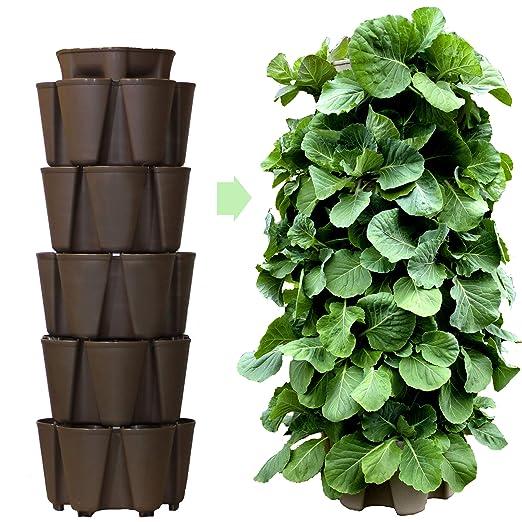 GreenStalk - Macetero grande patentado con 5 niveles de jardín ...