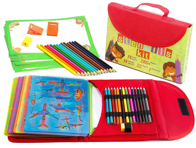 Kit de Plantillas de Dibujo para Niños 54-Piezas| Divertido Conjunto de Actividades de Viaje, Estuche Organizador con más de 280 Figuras, Artesanía para Niñas y Niños, Juguete Creativo y Educacional para Edades de 3 hasta Adolescentes | Excelente Regalo p