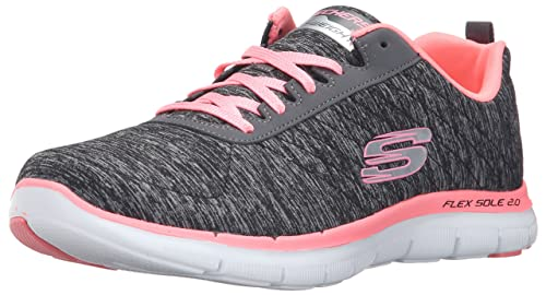 41738c0e1b7c3 Skechers Women s Flex Appeal 2.0 Black and Coral Sneakers - 3 UK India (36