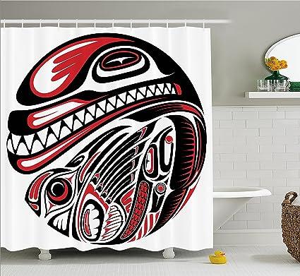 e9cfcfd02 Ambesonne Tribal Shower Curtain, Haida Style Animal Art Wild Ethnic Eagle  and Killer Dog with