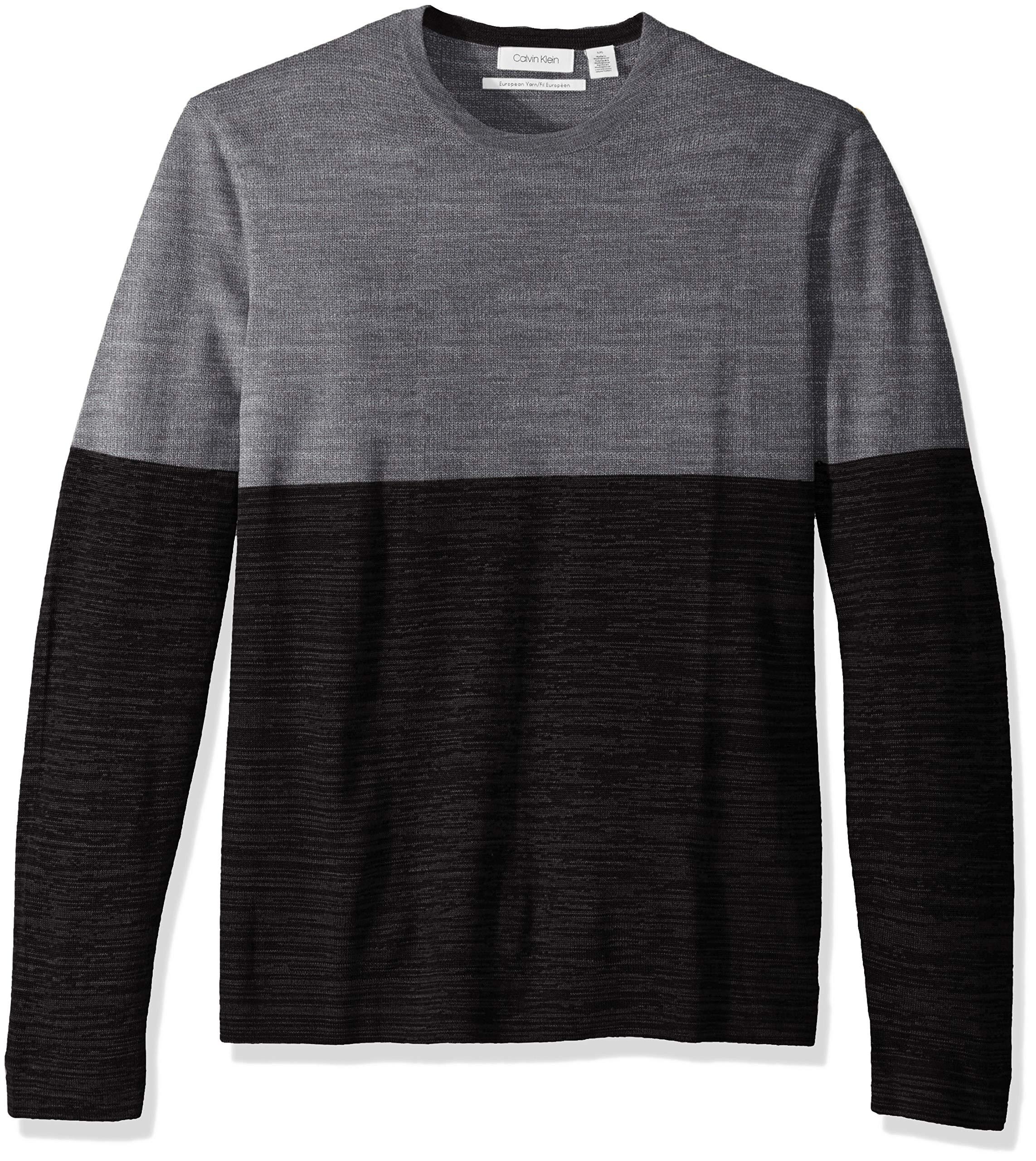 Calvin Klein Men's Merino Sweater Crew Neck, ANSA Combo, Medium