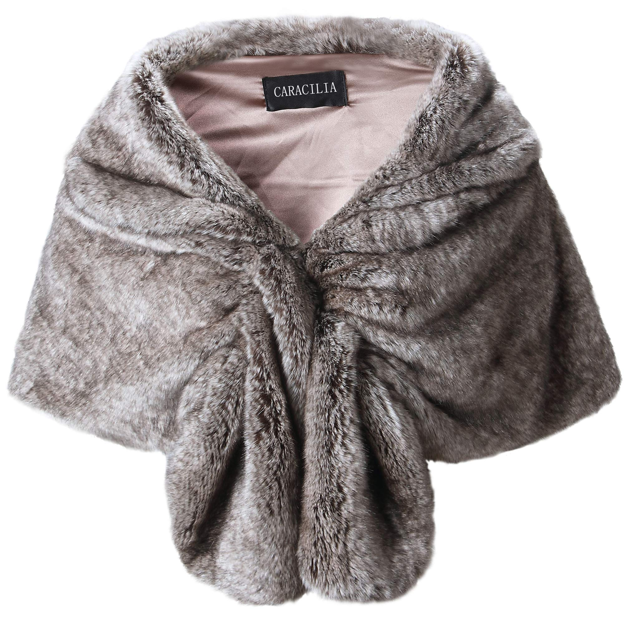 Caracilia Elegant Bridal Wedding Faux Fur Shawl Stole Wrap Shrug CA95 , Rabbit Fur Grey , Large by Caracilia (Image #1)