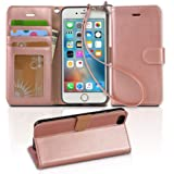 Arae PU Leather Flip Folio Kickstand Wallet Case with Card Slots for iPhone 6 / 6S - Rose Gold