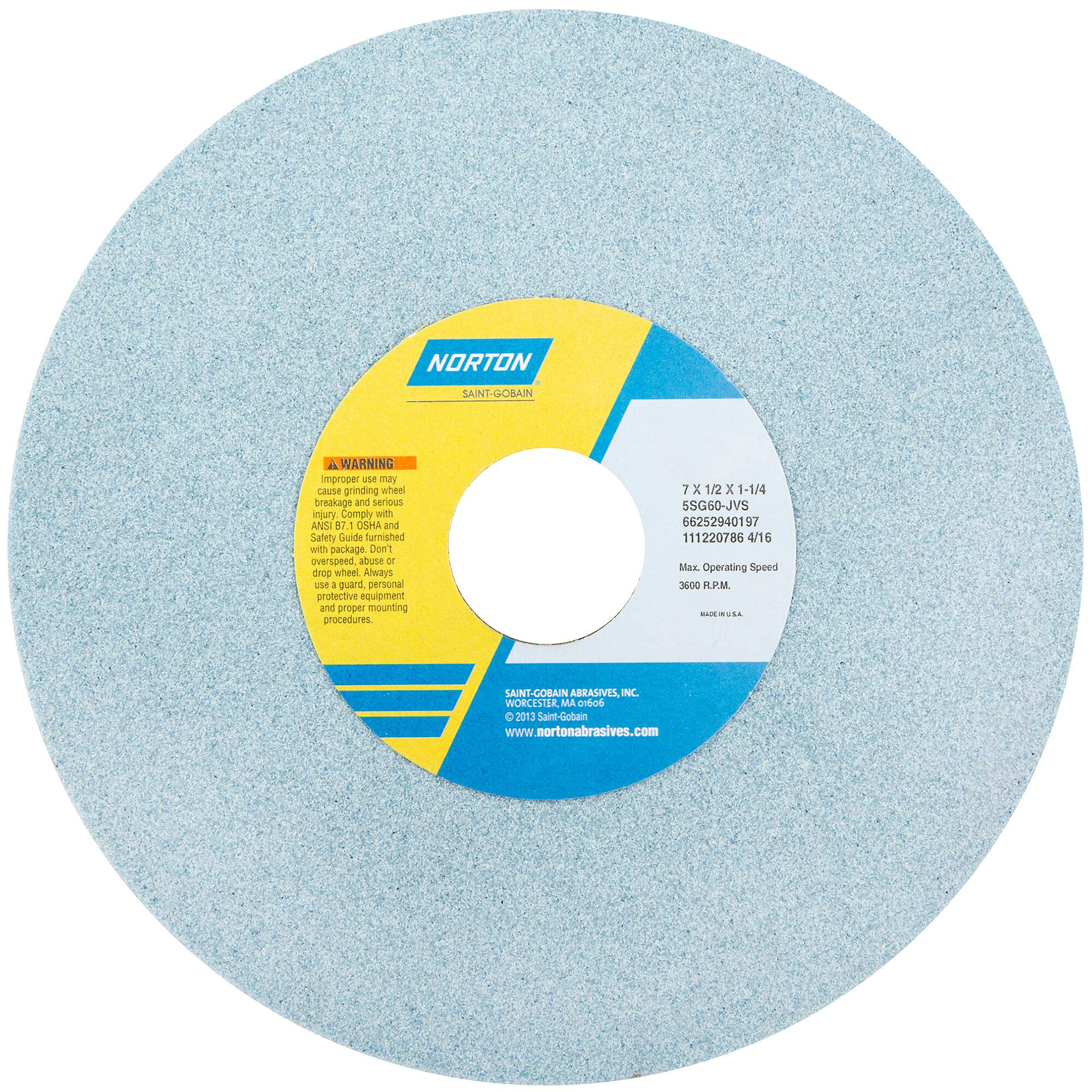 Norton 5SG60-JVS Type 01 Vitrified Straight Toolroom Grinding Wheel, Ceramic Alumina, 7'' Diameter x 1/2'' Width, 1-1/4'' Arbor, 60 Grit, Grade J, Blue (Pack of 1) by Norton Abrasives - St. Gobain