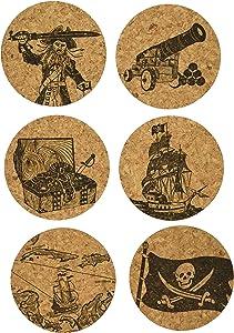 Corkology Pirates Coaster Set, Cork