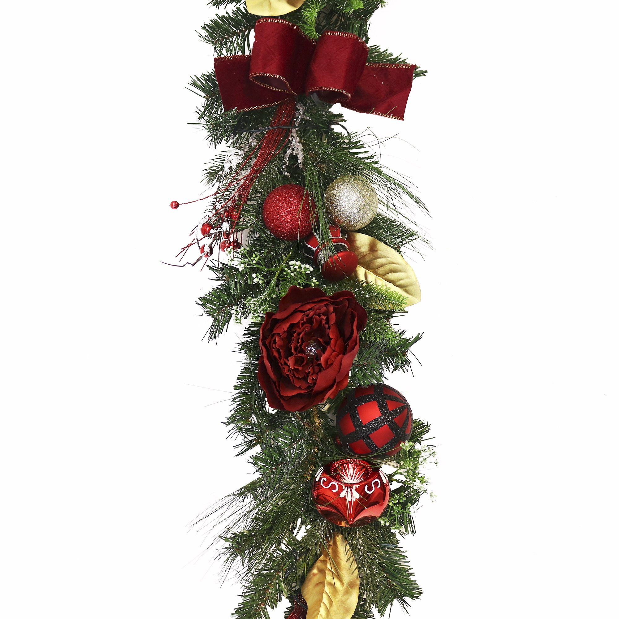 V&M VALERY MADELYN 6 Feet Red Black Artificial Greenery Spruce Garland for Wedding Party Garden Office Wall, Shatterproof Ornaments Included, Battery Operated 20 LED Lights with Remote and Timer